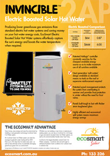Invincible Electric Boosted Solar Hot Water
