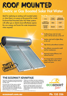 Roof Mounted Electric or Gas Boosted Solar Hot Water